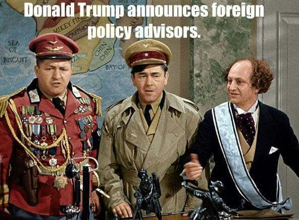 Trump's actual top foreign policy adviser Joseph Schmitz is a radical Christian supremacist. He is a member of the Sovereign Order of the Knights of Malta and has a neo-crusader worldview... He is a total clown and a joke because of his insane worldview that has no bearing in the modern world. http://www.democracynow.org/2016/3/25/donald_trumps_top_foreign_adviser_joseph
