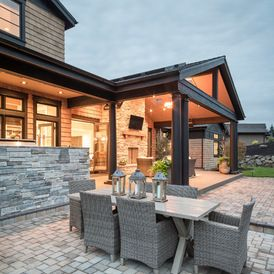 transitional patio by Alan Mascord Design Associates Inc Grey colored outdoor furniture