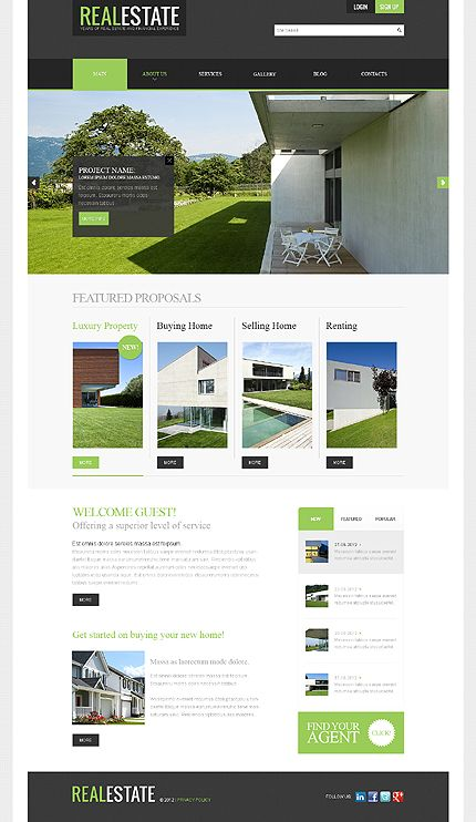 Real estate web design inspiration web pinterest for Home design websites
