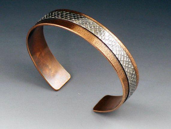 Copper and Sterling Silver Mixed Metal Cuff, Textured Cuff, Cuff Bracelet, Adjustable, thin cuff bracelet, copper cuff