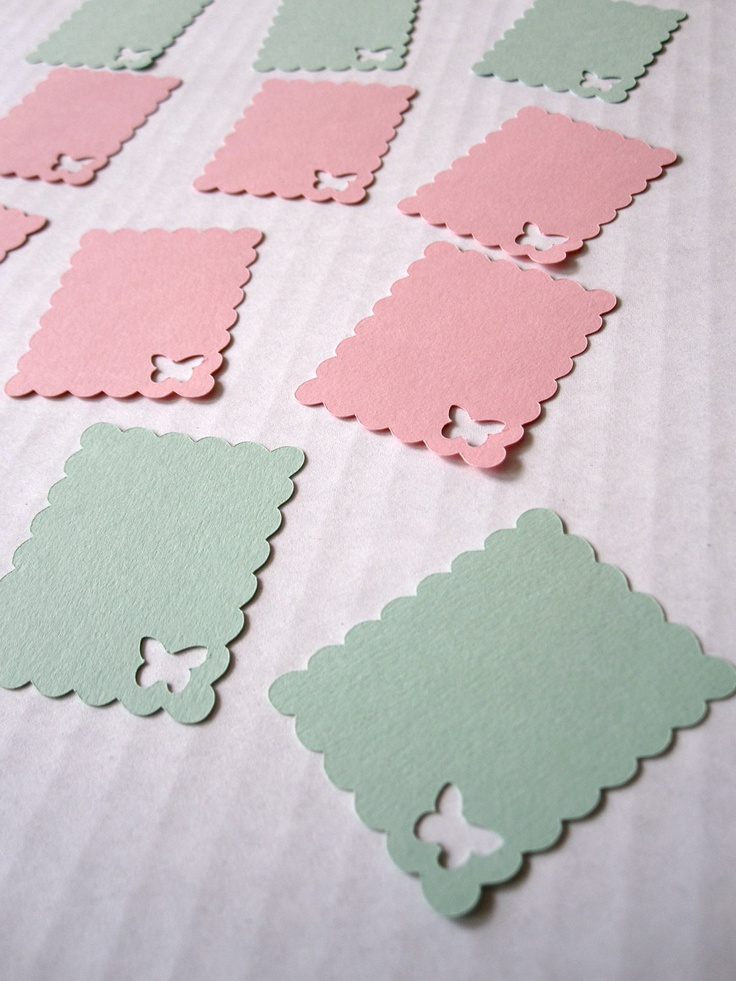 3 Dozen Die Cut Tags with Borders and Butterfly cut by VicDesigns, $2.00