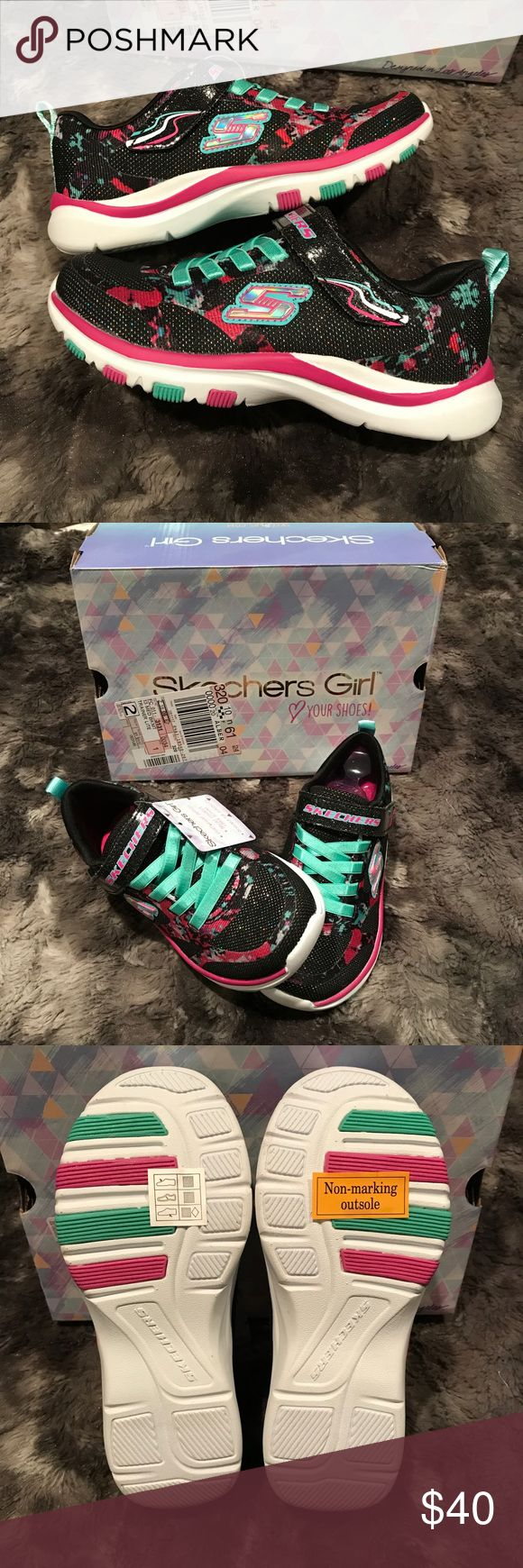 Girls size 13 Skechers sneakers black pink floral Girls size 13 Skechers athletic shoes. They are brand new. They are black, pink and teal with a floral print. Super cute shoes for back to school! Skechers Shoes Sneakers