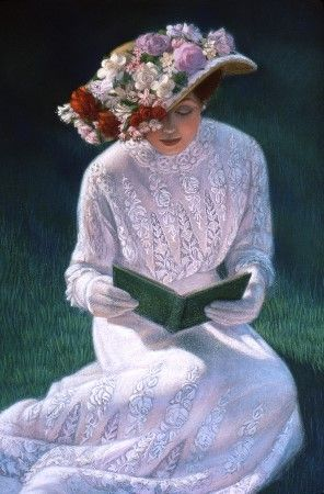 """""""Romantic Novel"""" - Sue Halstenberg So pretty, but what a pity reading a book with gloves."""