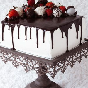 Strawberry Tuxedo Cake with Whipped White Chocolate Frosting