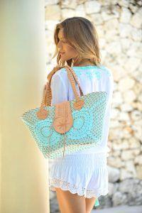 Bag Crochet Leather Aqua   Hot Lava