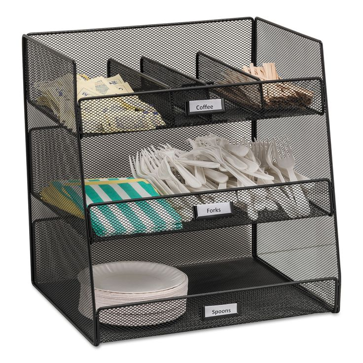 Enjoy easy storage and organization with the Onyx break room organizer. A unique metal mesh design allows for easy visibility of contents and fits in to any workspace setting. Materials: Steel Color: