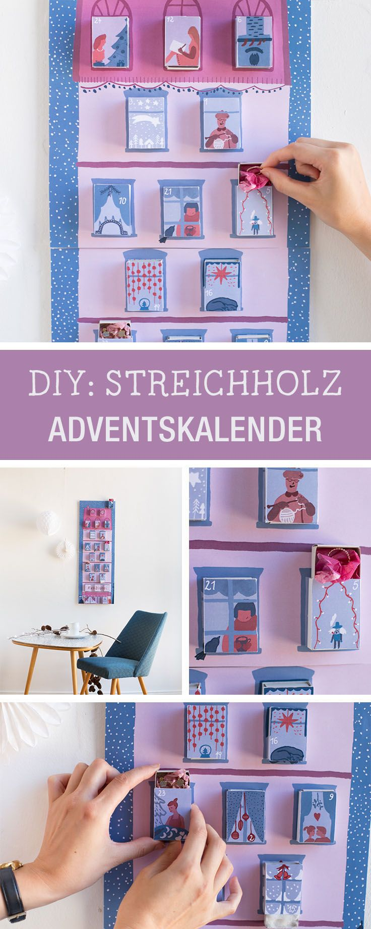 Adventskalender aus illustrierten Streichholzschachteln selbermachen, Vorlage zum Ausdrucken / free printable: illustrated advents calendar made of matchboxes via DaWanda.com