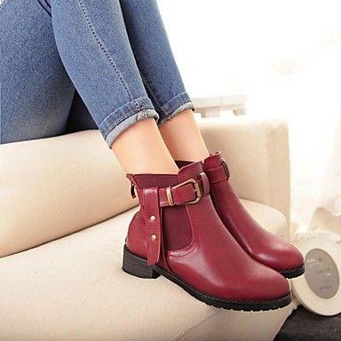 zapatos de las mujeres del dedo del pie redondo botines de tacón bajo más colores disponibles - USD $ 59.99