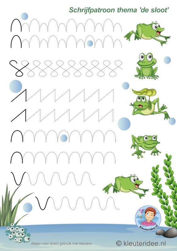 Schrijfpatroon voor kleutepars, thema 'de sloot' 1, kleuteridee, preschool pond theme, free printable