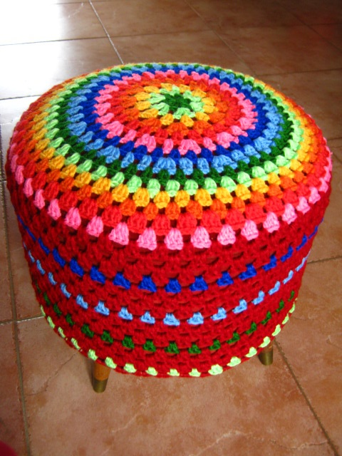 Crochet rainbow pouf
