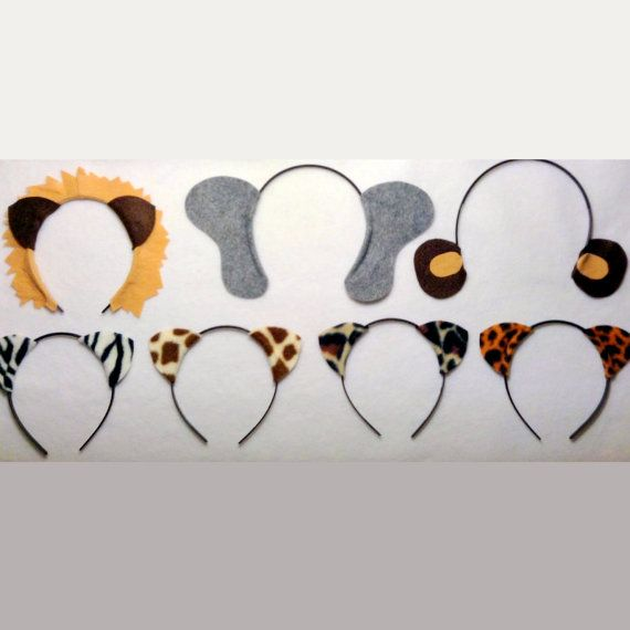 Jungle safari animals theme ears headband birthday party favors. Lion, elephant, monkey, zebra, leopard, cheetah. Great idea for birthday party supplies for zoo, jungle, or circus theme, wedding photo booth props, or dress up. $20