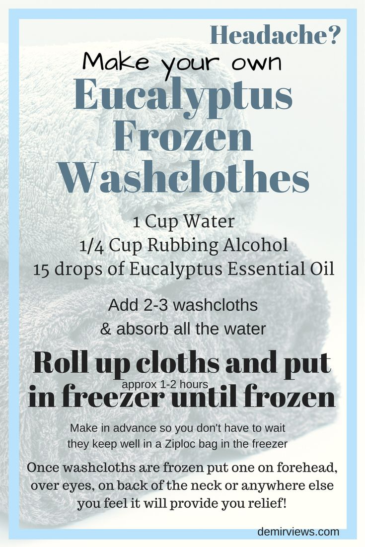 Headache? Make your own Eucalyptus Essential Oils Frozen Washcloths and find out which essential oils are the best for Headaches