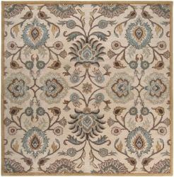@Overstock.com - Hand-tufted of wool, this rug features a floral design with a plush pile. Shades of beige, gold, blue, brown, ivory and gray accent this area rug.http://www.overstock.com/Home-Garden/Hand-tufted-Havana-Wool-Rug-99-Square/6183088/product.html?CID=214117 $517.99