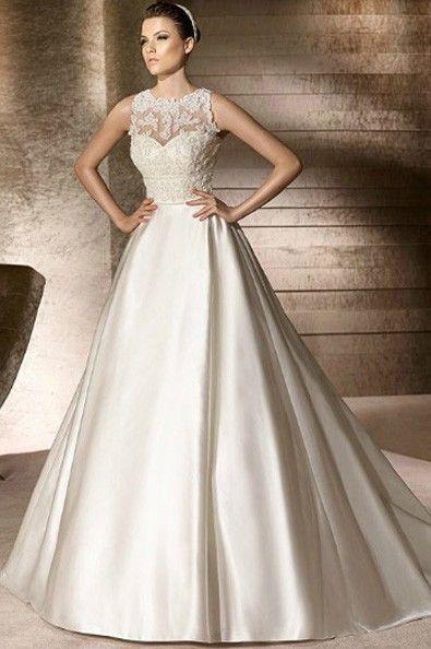 Stain fabric  A-Line silhouette with Jewel neckline  wedding dress