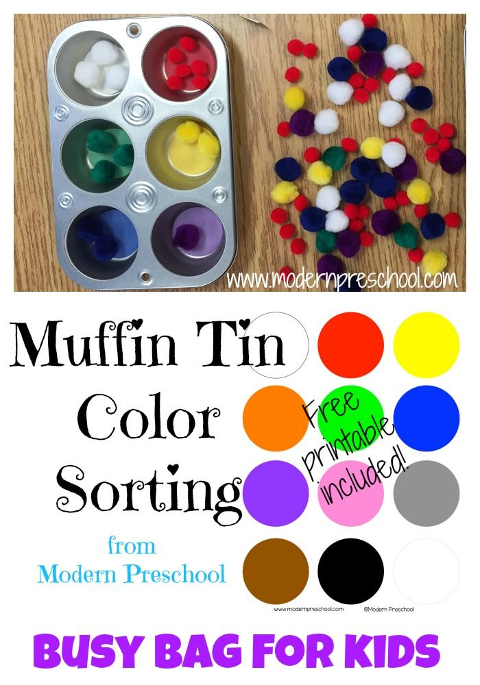 Modern preschool muffin tin color sorting activity with free printable included in post great - Muffins fur kindergarten ...