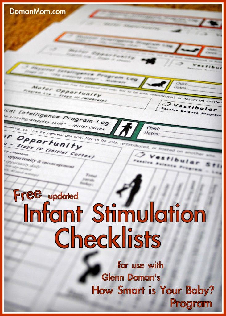 """Free Infant Stimulation Checklists (updated) for Glenn Doman's """"How Smart is Your Baby?"""" Program"""
