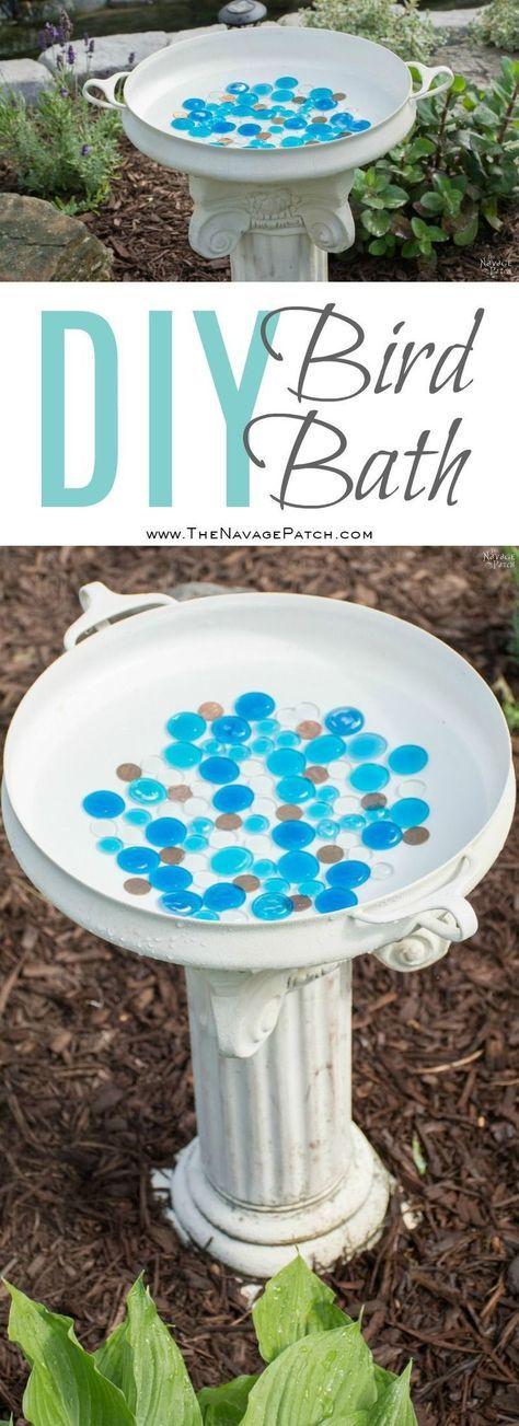 DIY Bird Bath | How to make a bird bath | Simple upcycled garden and backyard decor | DIY garden and backyard decor | Homemade bird bath | The NavagePatch.com