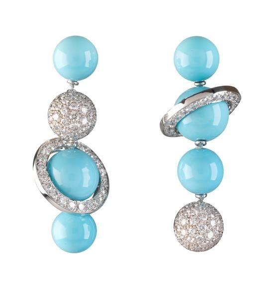 Saturn-Aspired turquoise earrings by Van Cleef & Arpels