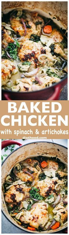Baked Chicken with Spinach and Artichokes – Chicken, spinach and artichokes come together in this delicious, one-pot recipe. via @diethood (Creative Baking Low Carb)