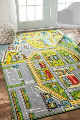Rugs USA Green Playroom Fairytale Town rug – Kids Rectangle 4′ 4″ x 6′