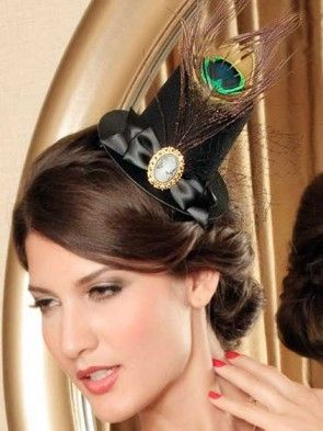 Mini Top Hat with Peacock Feather and Cameo