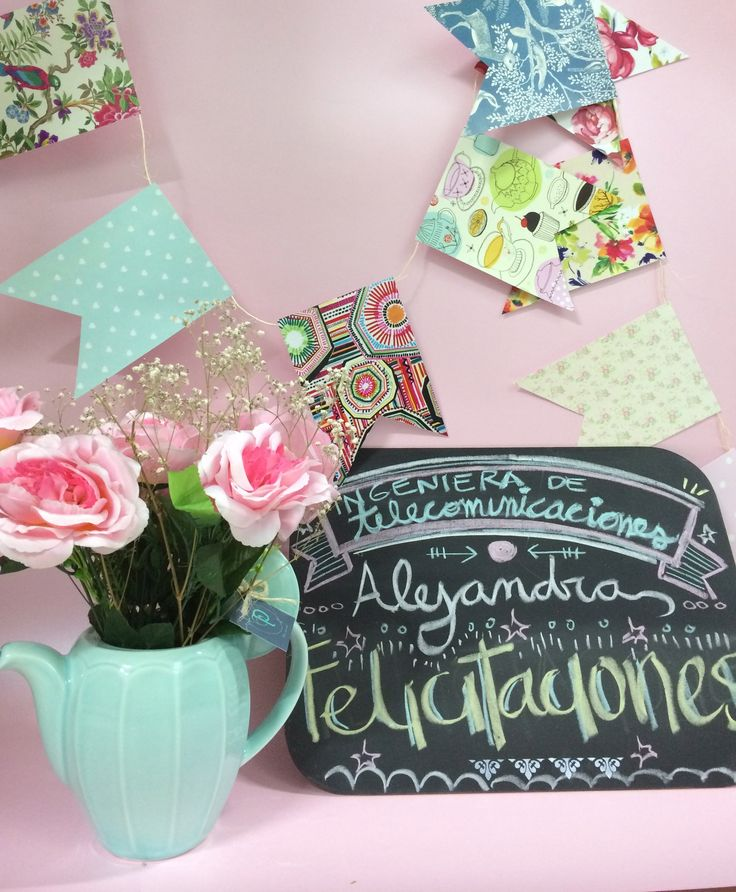 Tetera con flores ·banderines · kit de decoración