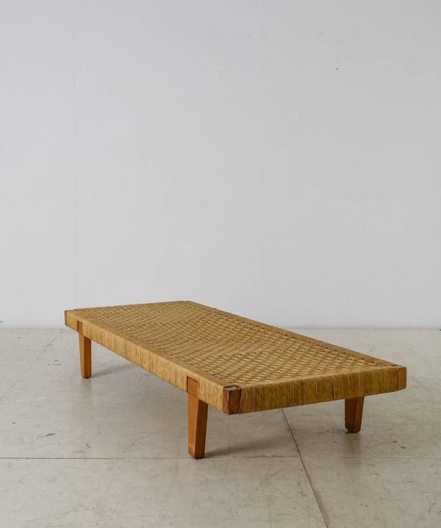 Mid Century Modern Mexican Wood And Cane Bench Or Daybed 1950s For Sale Daybed Wood Bench