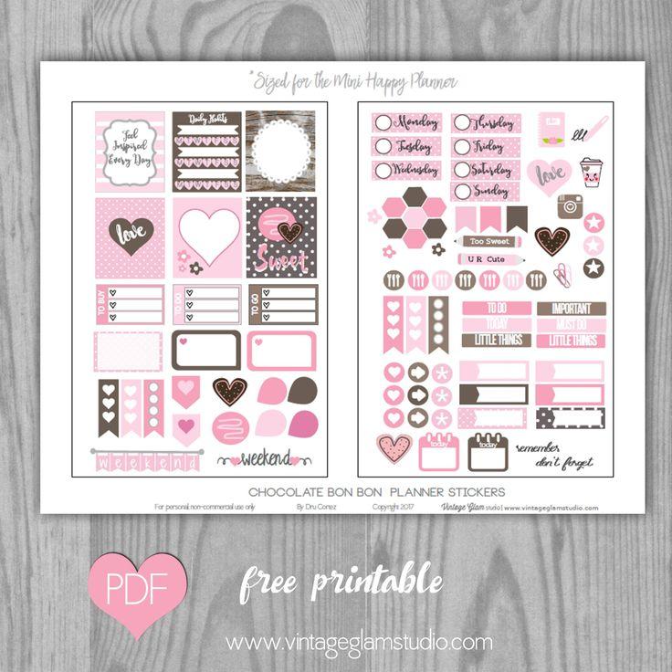 Free Chocolate Bon Bon Planner Stickers for the mini Happy Planner | Vintage Glam Studio