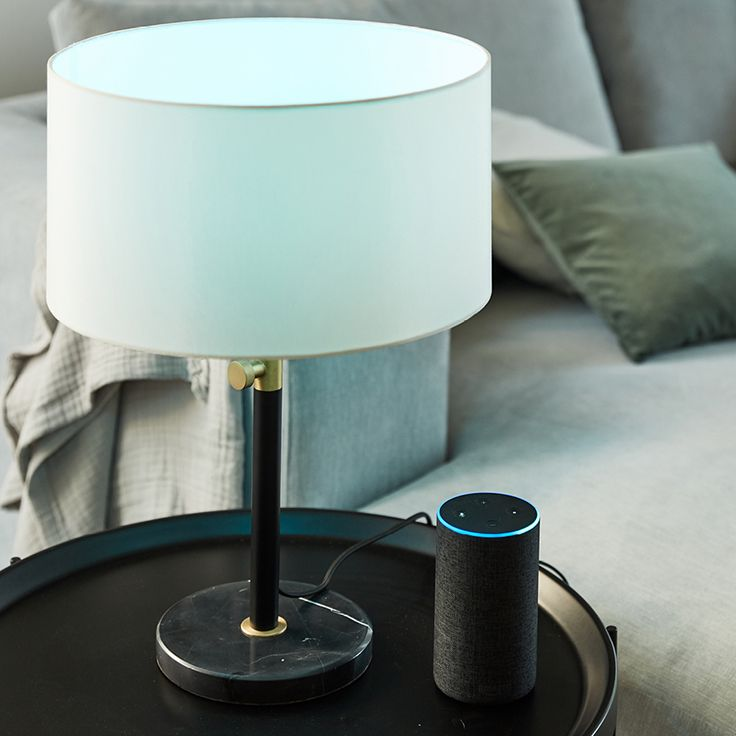The Beacon Lighting Albus 1 Light Table Lamp With Matte Black Base And Brass Detail With White Shade And The Amazon Echo 2nd Generation Is A Hands Free Voice C