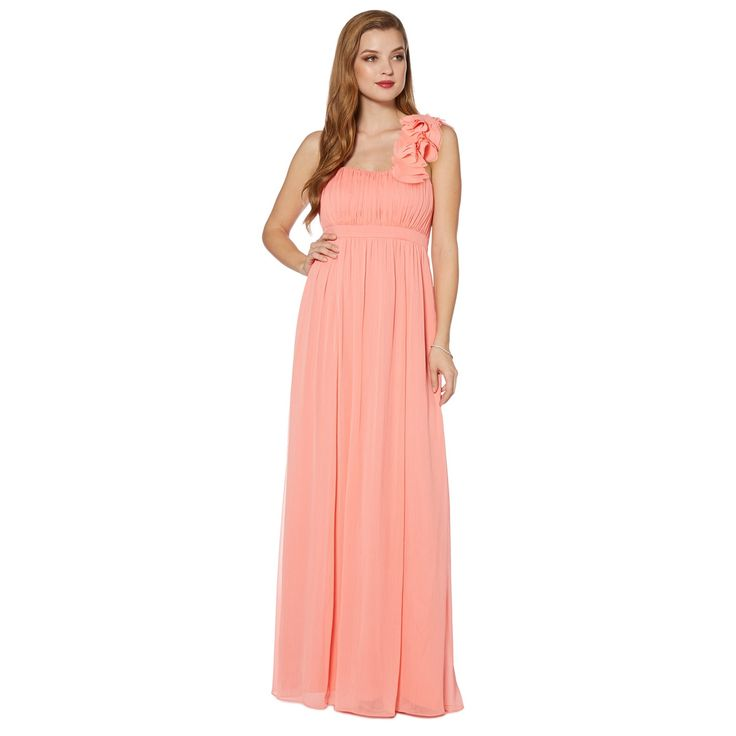 debut pale orange blossom detail one shoulder maxi dress