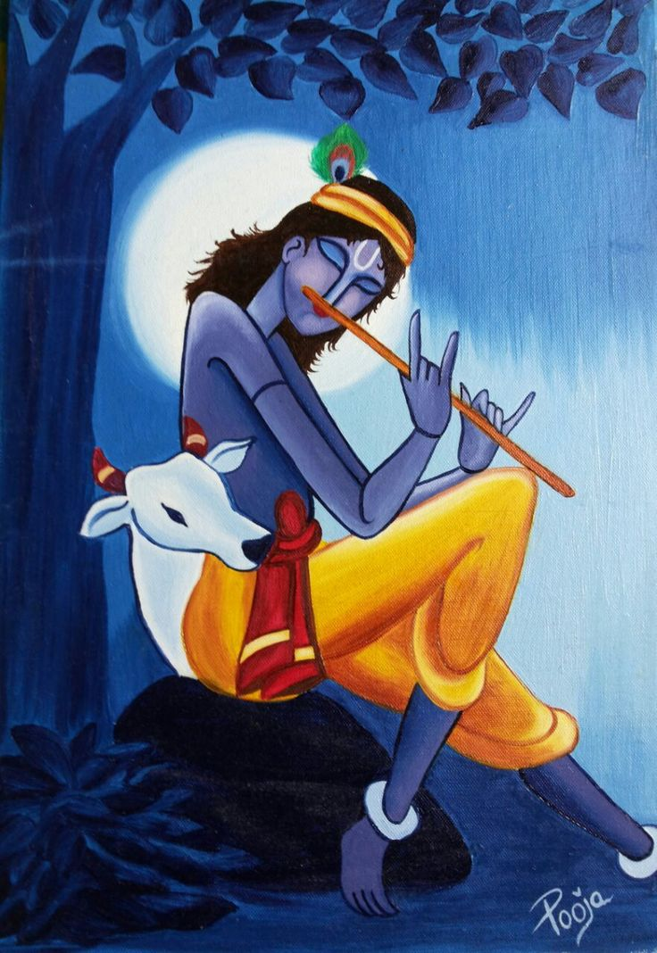 Pooja Painting – Oil Painting on Canvas – Krishna with Night ...
