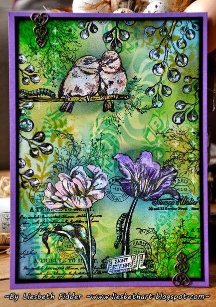 Deze grote (A5) kaart vol prachtige nieuwe Art Journey stempels maakte ik voor een swap ! Stempels: Tulips; Garden Birds ; Lie...