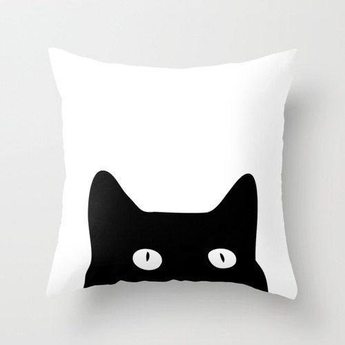 Handpainted hidden cat on white soft cotton / Pillow case / Decorative cushion / Throw pillow / Handmade on order / Kitten / Black kitty cat