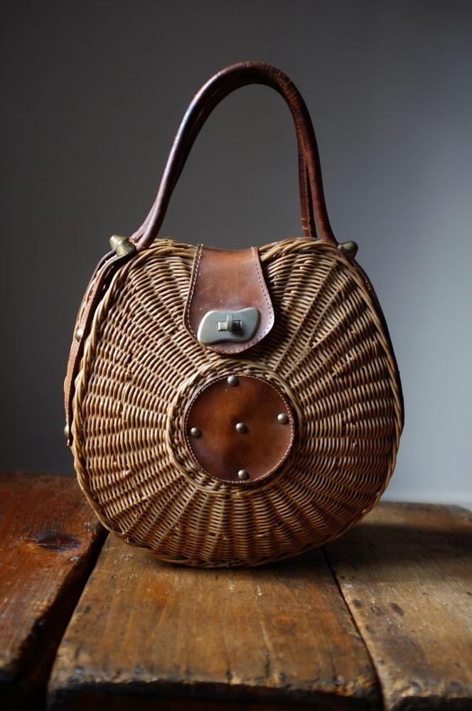 Atelier Solarshop [vintage rattan hand bag]. #Basket #wicker Basket#Basket Handbag #Wicker handbag #Handbag