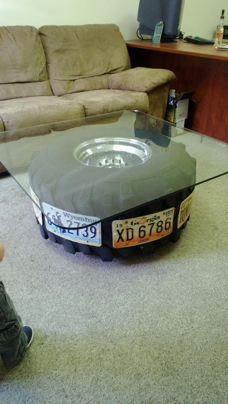 A coffee table I made for my husbands mechanic shop