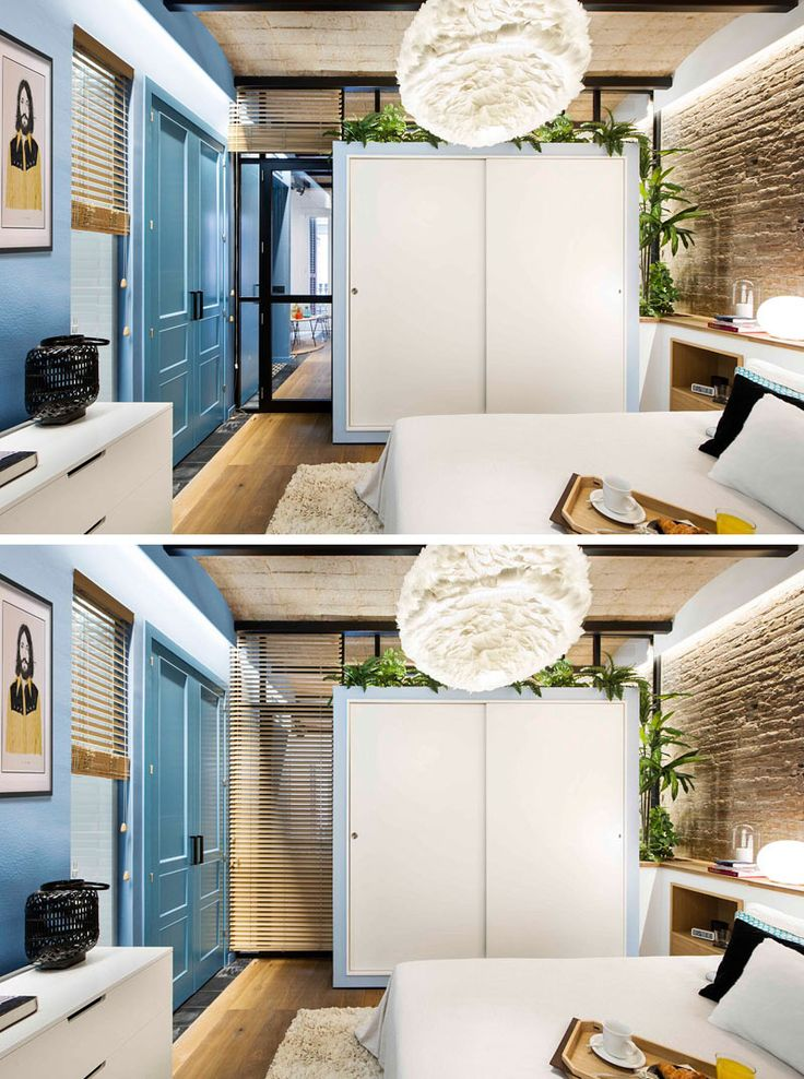 In this small modern bedroom, a closet was created by extending the storage unit in the dining area into the bedroom, adding closet storage solutions inside, and covering it with white sliding doors. This unique unit creates continuity in the apartment and adds extra functionality to a single piece of furniture.