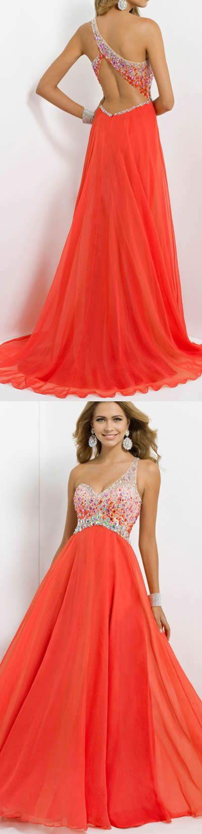 Orange/Red Empire Floor-length Chiffon Prom Dresses
