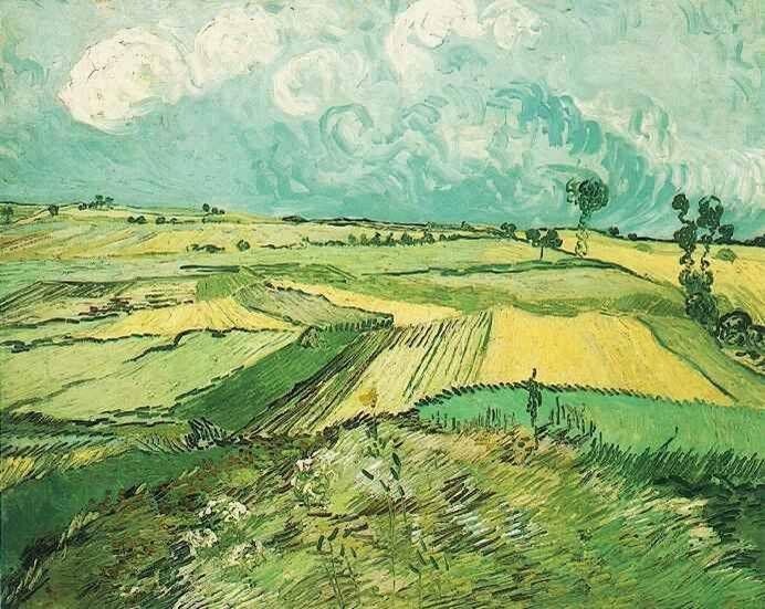 Wheat Fields at Auvers Under Clouded Sky, 고흐   캔버스에 유채, 50.5 x 103 cm, 1890  카네기 미술관 소장                             노년의 시기에 이런 작품을  구상하고 표현할 수 있다는것은 놀라울 따름이다.  전체적인 녹색의 향연 아래 거침없는 붓터치와 섬세한 대상의 표현이 조화를 이룬 작품인 것 같다.