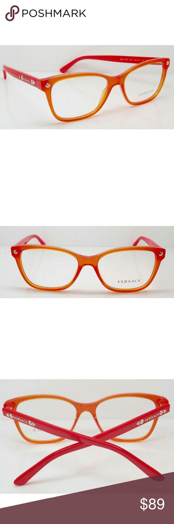 Brand new Authentic  ladies Versace eyeglasses. Brand new Authentic ladies Versace eyeglasses. Frames are transparent Opal orange with demo lenses. Temples have gold Versace wording. Frames are made in Italy. I will include with glasses our logo eyeglass case, cleaning cloth and eyeglass cleaner. Versace Accessories Glasses