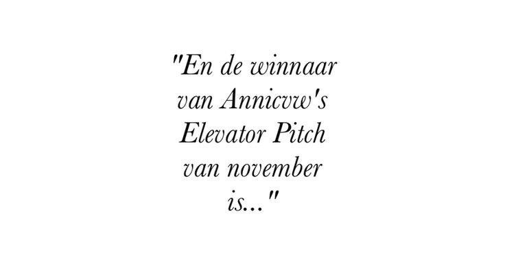 AND THE WINNER IS....BEKENDMAKING WINNAAR ELEVATORPITCH NOVEMBER: