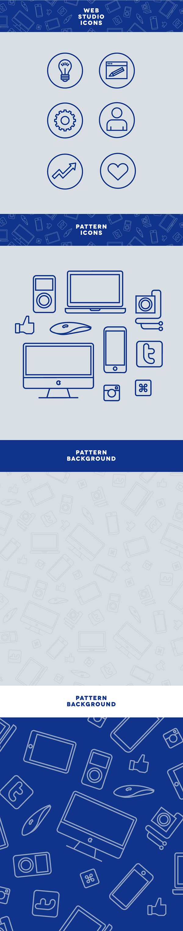 Icons and patterns for web studio banners
