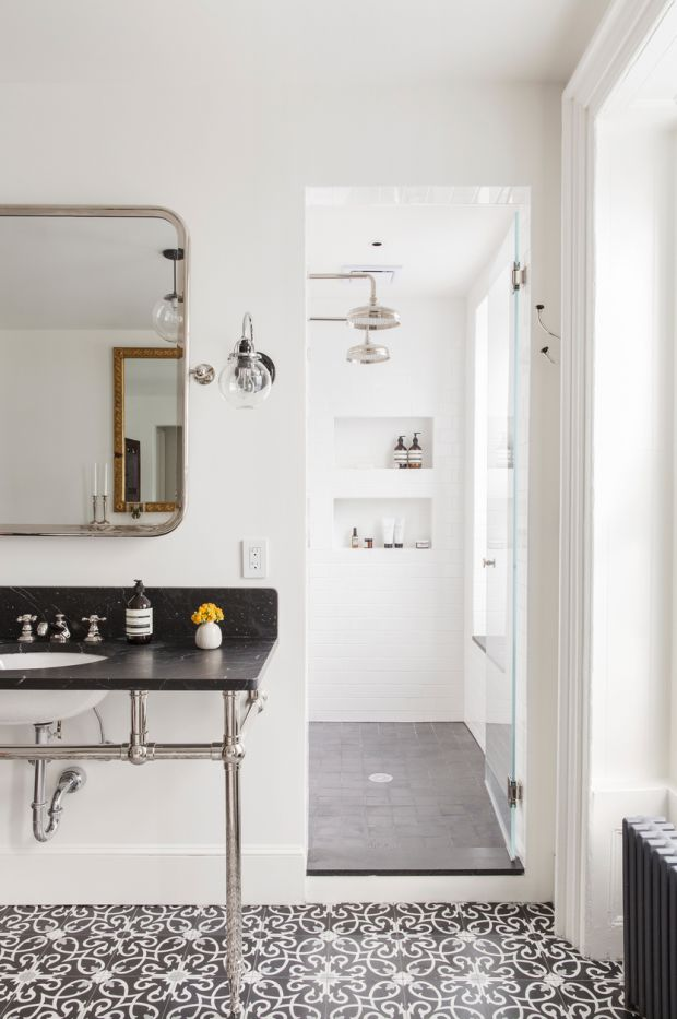 Reverse the tile: plain grey on main floor; pattern in shower. Also NOTE: globe light fixtures- sconce & pendant
