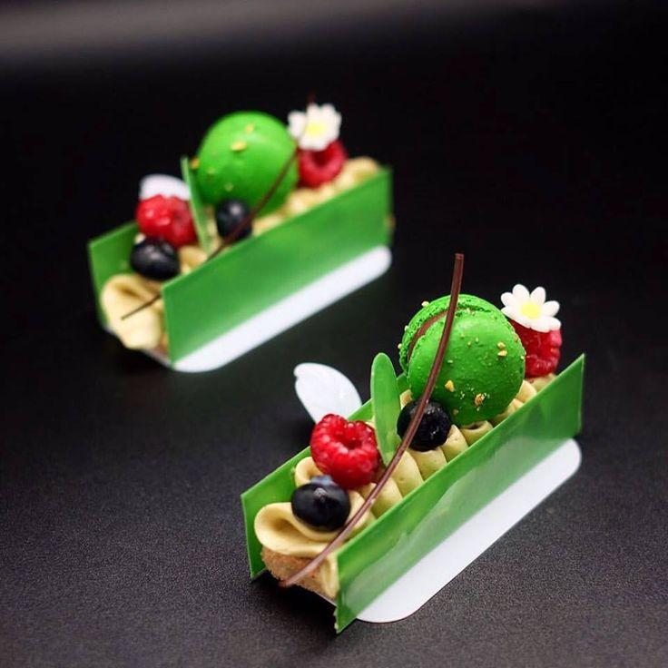 Pistachio Dacquoise, pistachio mousse, berries, pistachio macaron