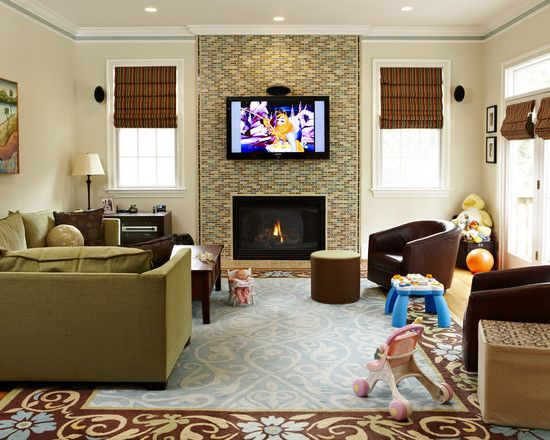 Tv above fireplace design pictures remodel decor and - Small living room ideas with tv ...