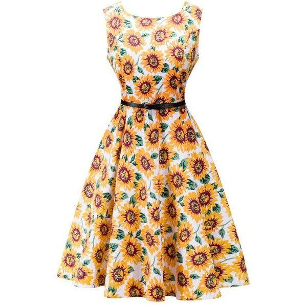 Retro High Waisted Sunflower Dress (€18) ❤ liked on Polyvore featuring dresses, sun flower dress, sunflower print dress, high waist dress, retro-inspired dresses and retro print dress