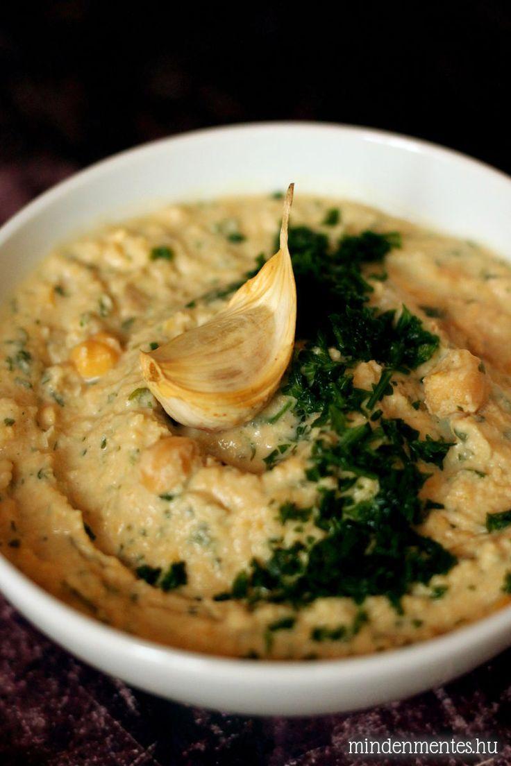 Sült fokhagymás, petrezselymes hummusz #gluténmentes #vegán |mindenmentes.hu