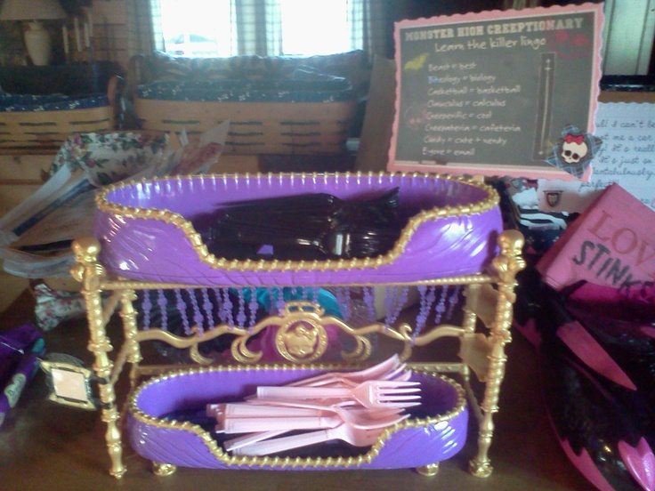 Monster High Coffin beds I used for utensils for Monster High Birthday Party !