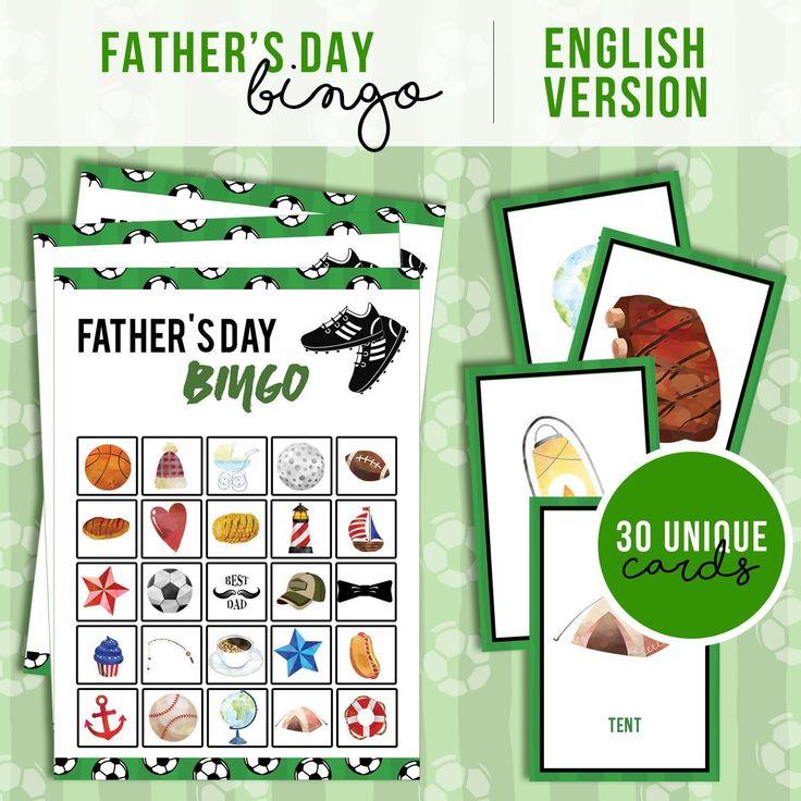 Father's Day Bingo Printable Game Etsy Bingo printable