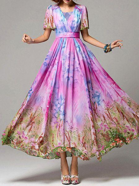 A-line Short Sleeve Boho V Neck Maxi Dress