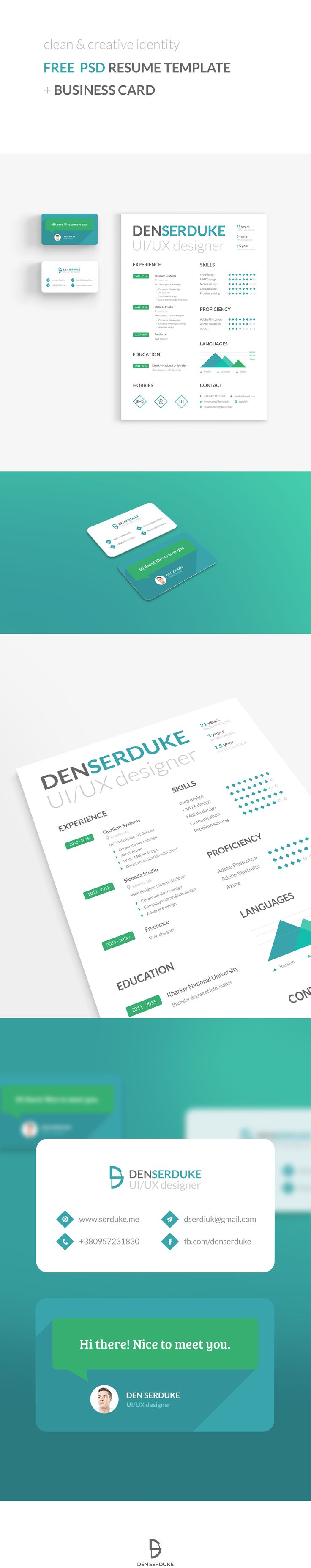 FREE Resume u0026 Business card on Behance
